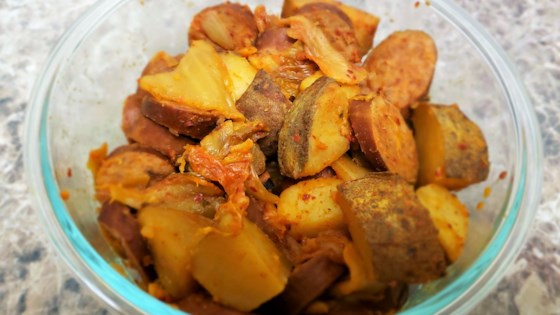 Photo of Easy Slow Cooker Turkey Sausage, Potatoes, and Kimchi  by EverFit Montana