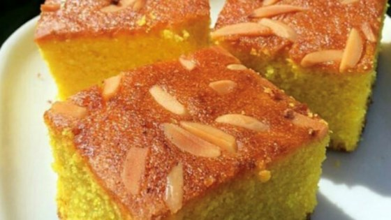 Photo of Semolina Turmeric Cake (Sfoof) by Lara