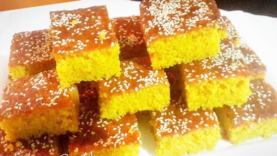 Photo of Semolina Turmeric Cake (Sfoof) by Lara