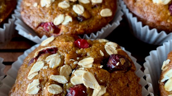 Photo of Healthy Pumpkin Cranberry Muffins by simplytater