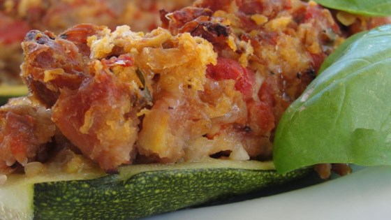 Photo of Stuffed Zucchini with Chicken Sausage by Christine