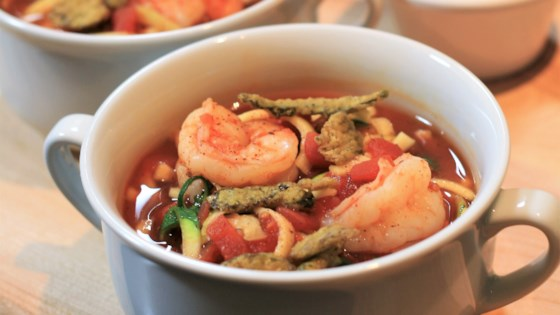 Spicy Shrimp Tortilla Soup with Zucchini Noodles Recipe