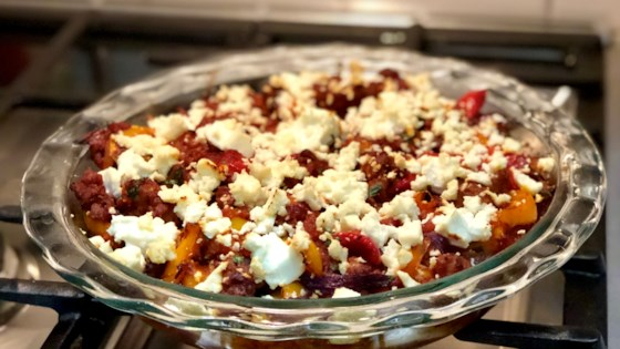 Photo of Sausage, Bell Pepper, and Feta Polenta Casserole by Diana Moutsopoulos
