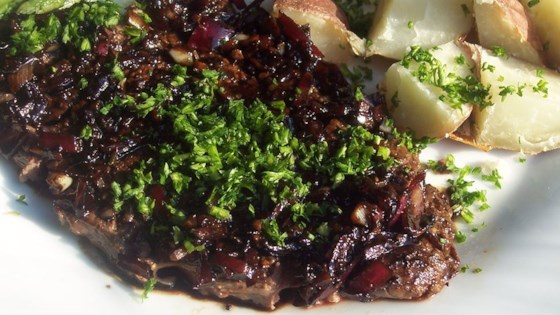 Photo of Flat Iron Steak with Balsamic Reduction by KMOMMYZ