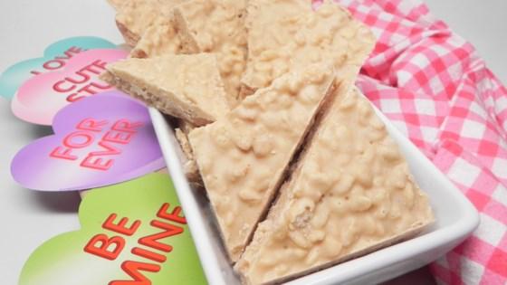 Photo of Crispy White Chocolate Peanut Butter Bark by WHIRLEDPEAS