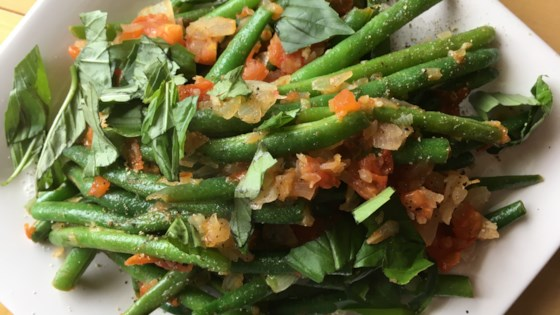 Photo of Green Beans Braised with Tomatoes and Fresh Basil by mike