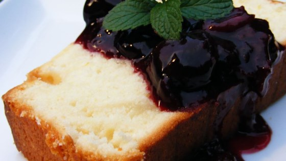 Photo of Sour Cream Lemon Pound Cake with Cherry Compote by Melissa VanDerLaan