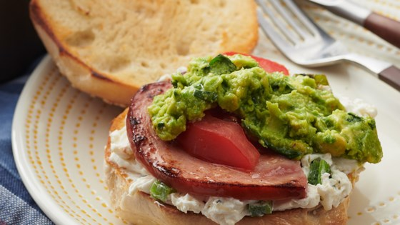 Photo of Ham Bagel with Smashed Avocado, Tomato, and Roasted Jalapeno Cream Cheese by Pure Farmland