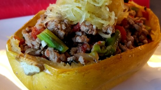 Photo of Roasted Spaghetti Squash with Ground Turkey and Vegetables by Melisa