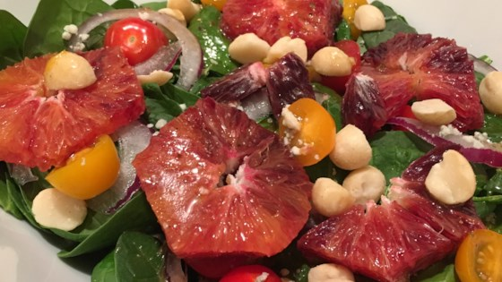 Photo of Spinach Salad with Blood Oranges and Macadamia Nuts by Fishwrap