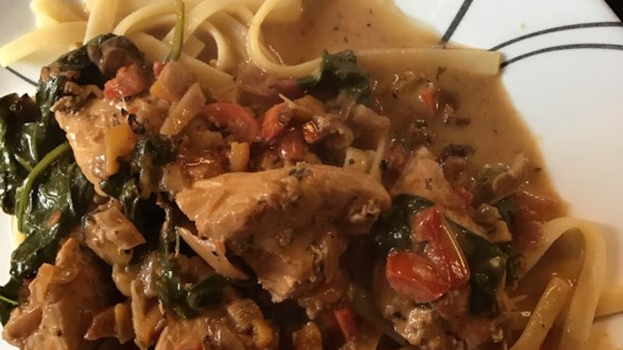Photo of Chicken with Sun-Dried Tomato and Roasted Pepper Cream Sauce by Joli Romeo McAnany
