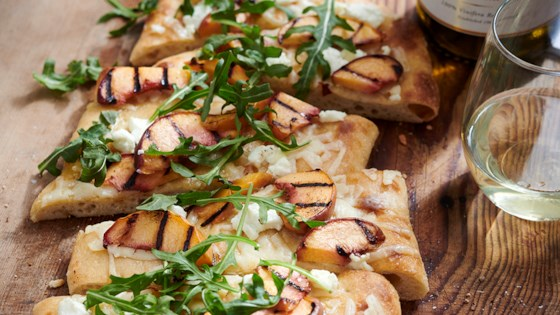 Photo of Grilled Peach and Goat Cheese Flatbread by Chateau Ste Michelle