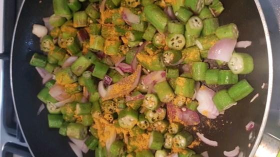 Photo of Bhindi Subzi (Okra Stir-Fry) by SimplyIndianCooking.com