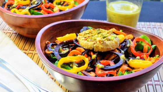 Photo of Roasted Sweet Potato and Beet Noodle Salad with Goat Cheese Medallions and Pistachio Vinaigrette by Kim's Cooking Now
