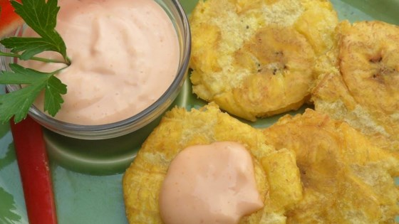 Photo of Tostones (Twice Fried Green Plantains) with Mayo-Ketchup Dipping Sauce by LatinaCook