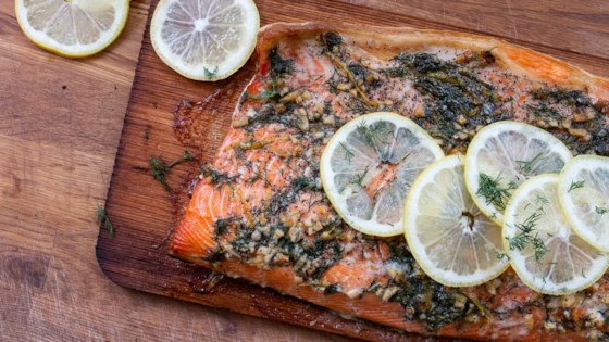 Photo of Cedar Plank-Grilled Salmon with Garlic, Lemon and Dill by USA WEEKEND Pam Anderson