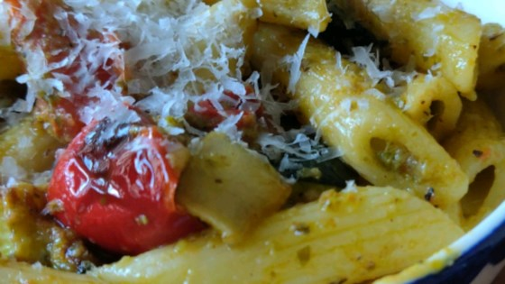 Photo of Roasted Veggie Pesto Pasta Salad by Amanda