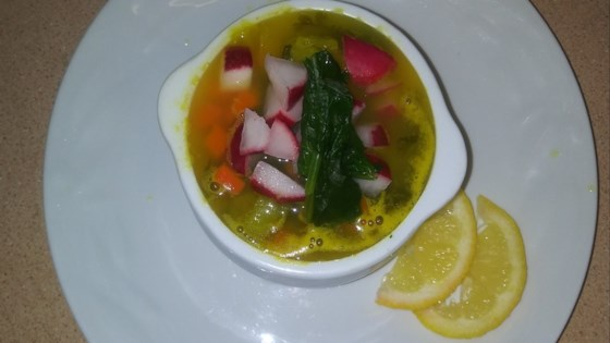 Photo of Spinach and Vegetable Soup with Radishes by Melissa