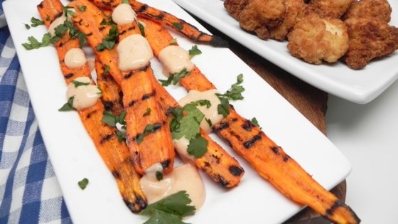 Photo of Grilled Carrots with Creamy Sriracha Sauce by Soup Loving Nicole
