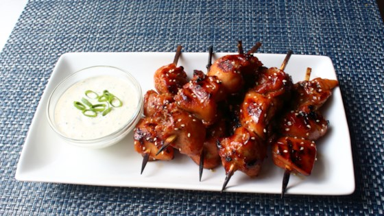Photo of Grilled Chicken Teriyaki Skewers with Miso Ranch by Chef John