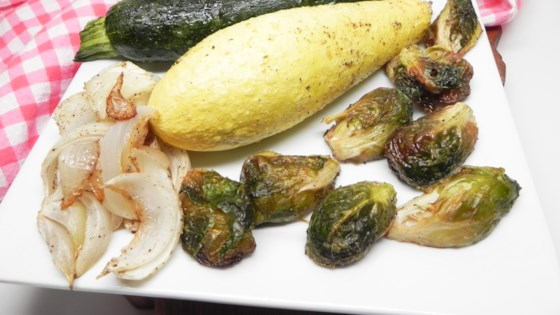 Photo of Roasted Summer Squash, Zucchini, and Brussels Sprouts by MIDWESTCINCY
