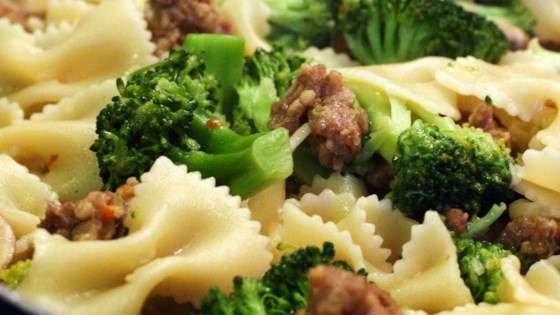 Photo of Italian Sausage with Farfalle and Broccoli Rabe by Bakerette87