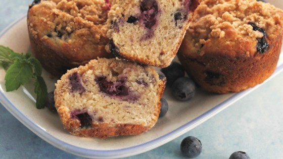 Photo of Sour Cream Blueberry Muffins  by lutzflcat