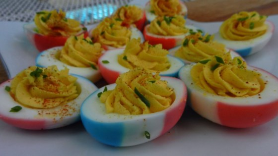 Photo of Red, White and Blue Deviled Eggs by Gremolata