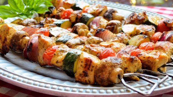 Photo of Grilled Pesto Chicken Kabobs by Kim's Cooking Now