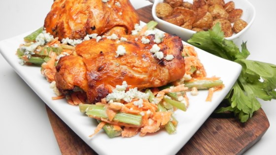 Photo of Grilled Buffalo Chicken Thighs with Blue Cheese Slaw by Soup Loving Nicole