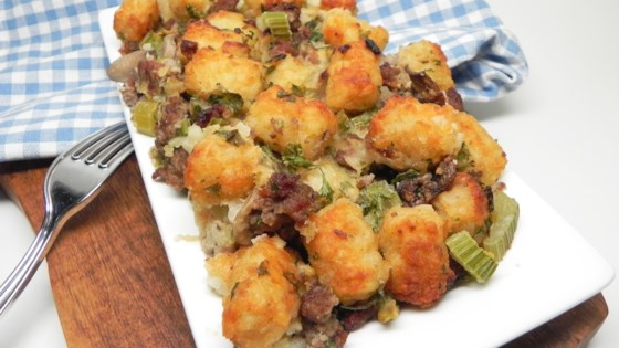 Photo of Sausage-Mushroom Tater Tot® Stuffing by Soup Loving Nicole