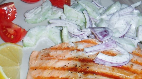 Photo of Grilled Salmon With Cucumber Salad by USA WEEKEND columnist Pam Anderson