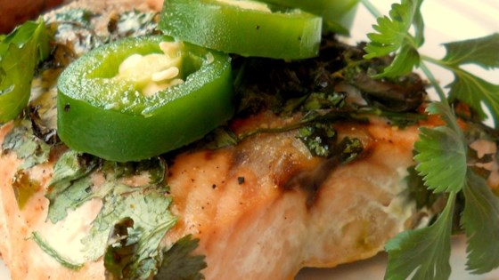 Photo of Grilled Salmon with Cilantro Sauce by TRACIANDJIGGER