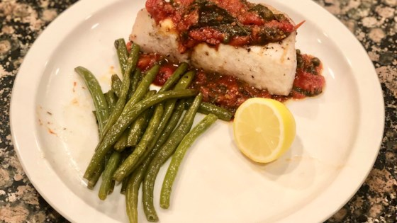 Photo of Grilled Amberjack with Tomato Basil Caper Sauce by karen755