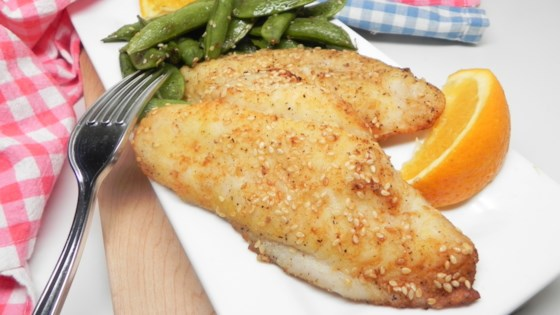 Photo of Air-Fried Sesame-Crusted Cod with Snap Peas by Allrecipes