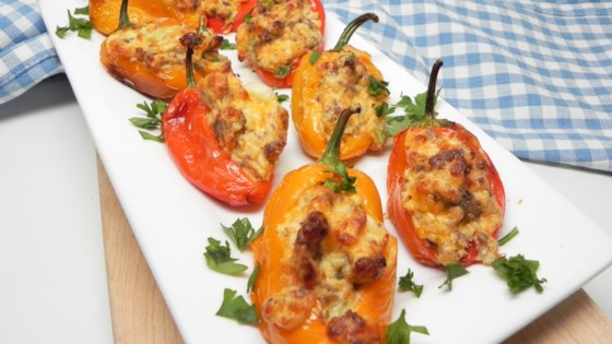 Photo of Air Fryer Mini Peppers Stuffed with Cheese and Sausage by Allrecipes