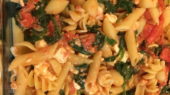 Mostaccioli with Spinach and Feta Recipe