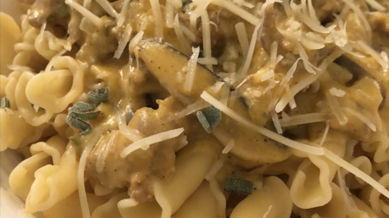 Photo of Cheesy Pumpkin and Sausage Pasta by Ms. Chef Esh