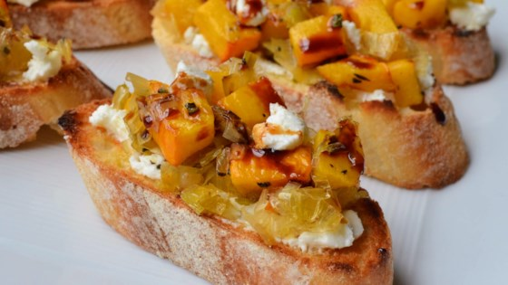 Photo of Roasted Pumpkin and Goat Cheese Crostini by Kim's Cooking Now