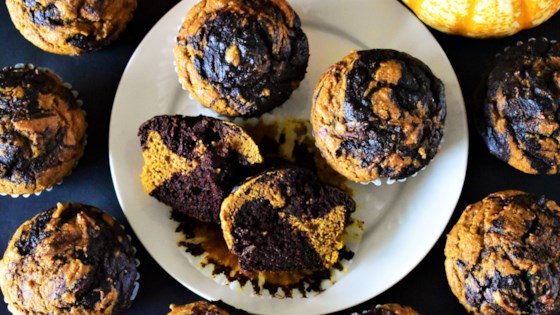 Photo of Marbled Chocolate-Pumpkin Muffins by Kim