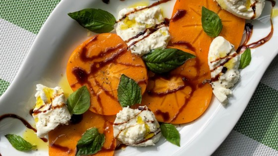 Photo of Fuyu Persimmon and Burrata Caprese Salad by Kim's Cooking Now
