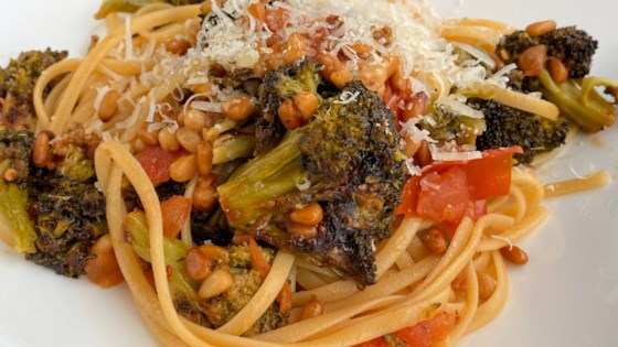 Photo of Linguini with Roasted Broccoli Pesto by caterwauler