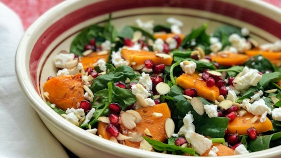 Photo of Spinach and Persimmon Salad with Goat Cheese and Pomegranate  by Kim's Cooking Now