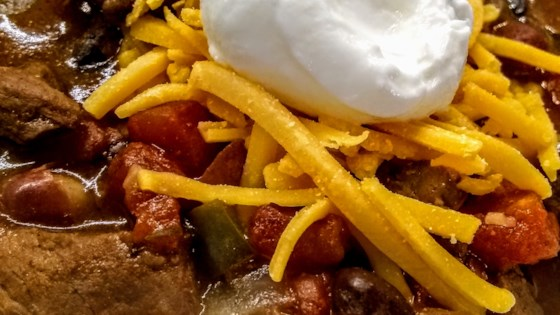 Photo of Slow-Cooked Stew Meat Chili by Katie