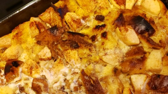 eggnog and apple bread pudding review by laredhead