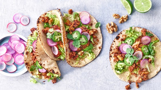 """Photo of Walnut """"Chorizo"""" Tacos with Pickled Vegetables by California Walnuts"""