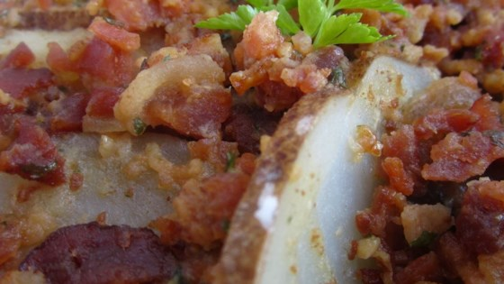 Sliced Potatoes with Bacon and Parsley