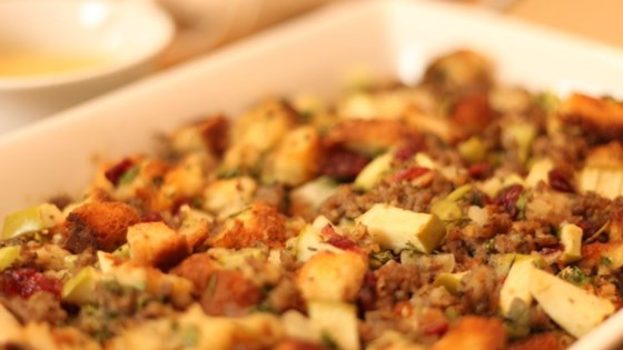 Photo of Awesome Sausage, Apple and Cranberry Stuffing by Stacy M. Polcyn