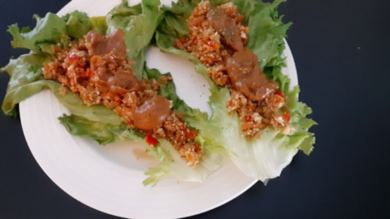 Photo of Cauliflower Rice Lettuce Wraps with Spicy Peanut Sauce by Soup Loving Nicole
