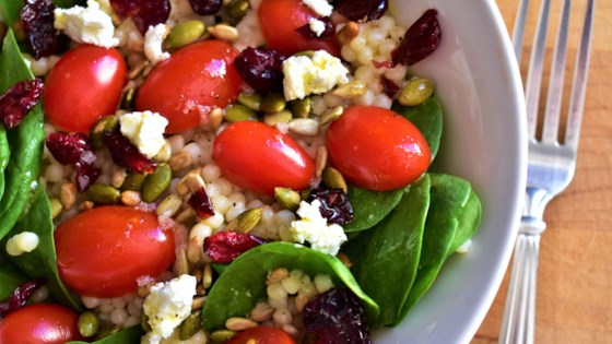 Photo of Couscous Salad with Kale, Tomatoes, Cranberries, and Feta by sissyneck